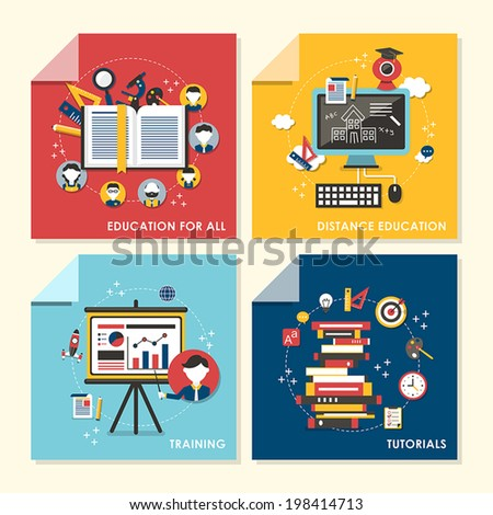 vector set of flat design concept illustration for education for all, distance education, training, tutorials - stock vector
