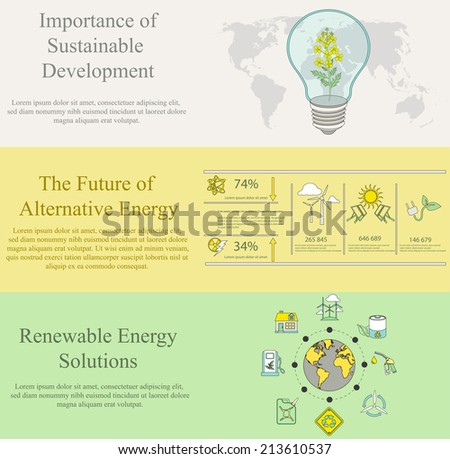 vector set of flat design concepts for web banners and print materials of  ecology, pollution, energy and sustainable development themes  - stock vector