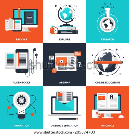 Vector set of flat e-learning icons on following themes - ebooks, explore, research, audio books, webinar, online education, innovation, distance education, tutorials - stock vector