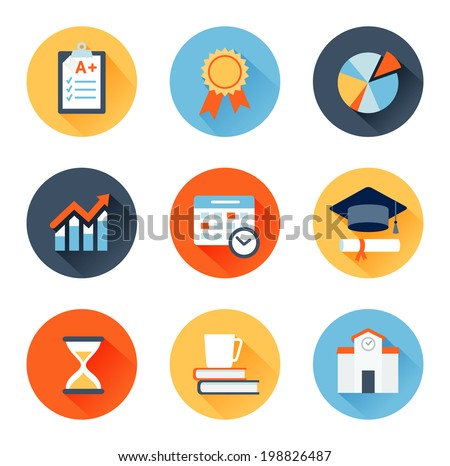 Vector set of flat icons education, exam, graduation and quality assurance - stock vector