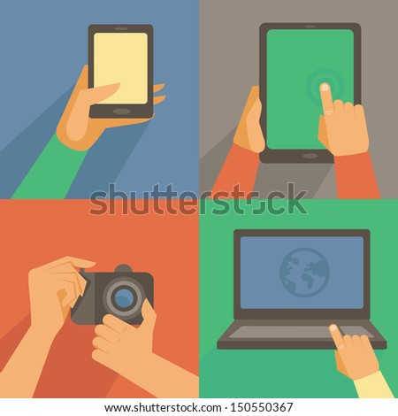 Vector set of flat icons - mobile phone, laptop, digital camera, tablet pc - stock vector