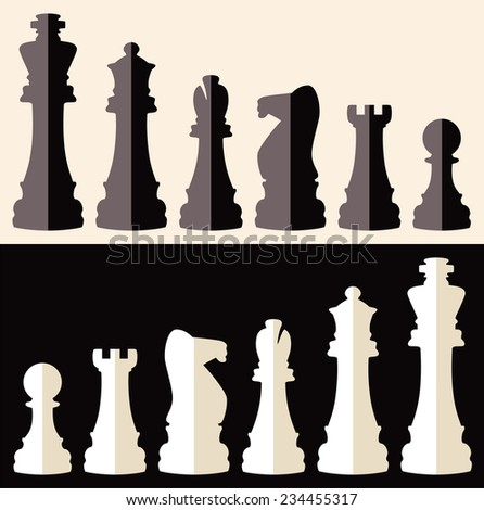 vector set of flat icons of chess pieces  - stock vector