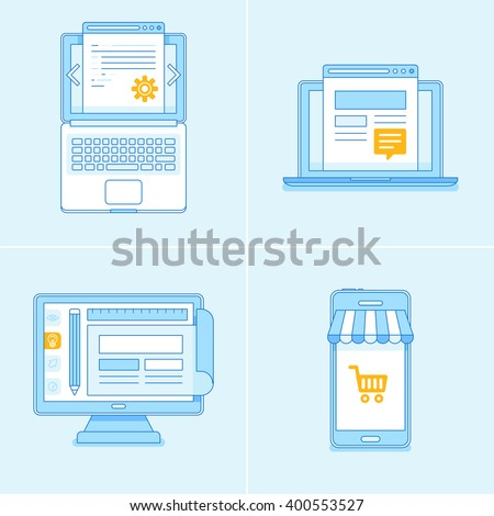 Vector set of flat linear illustrations and icons in blue colors - programming and coding, web design, online marketing concepts  - stock vector
