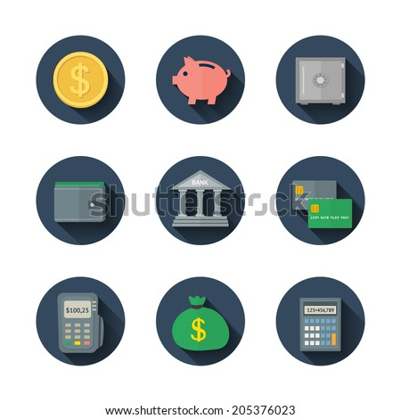 Vector set of flat long-shadow finance icons for web and mobile application - stock vector
