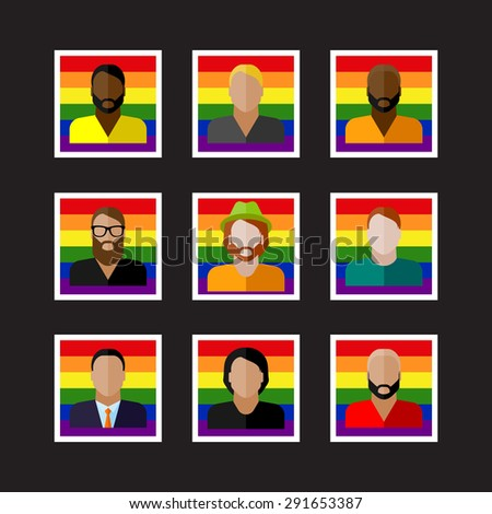 vector set of flat people icons with LGBT community members - stock vector