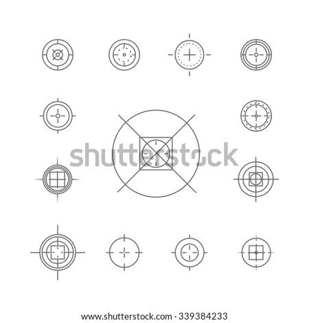 Vector set of flat targets and crosshairs icons isolated on white background. Aiming symbol. Cross mark, sniper aim sign. - stock vector