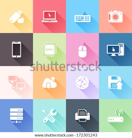 Vector set of 16 flat technology icons with long shadow - stock vector