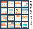 Vector Set of Flat Website Templates. Navigation Elements and Icons - stock vector