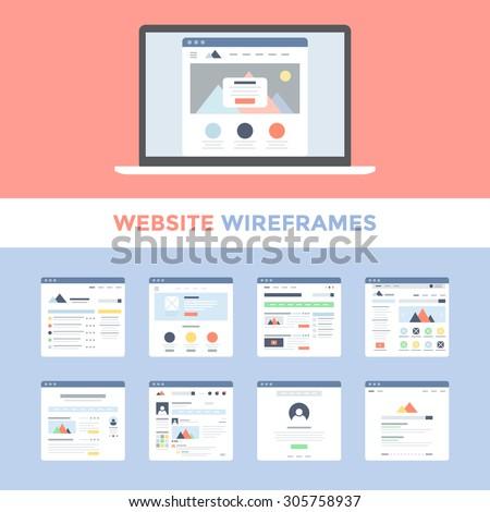 Vector set of flat website wireframes on laptop screen - stock vector