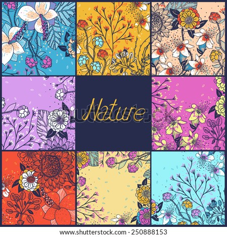 vector set of floral backgrounds with blooming flowers and plants - stock vector