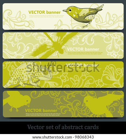 vector set of floral banners with birds and animals - stock vector