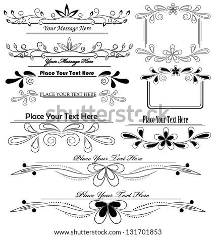 vector set of floral calligraphic design elements - stock vector