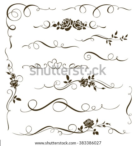 Vector set of floral calligraphic elements, dividers and rose ornaments for page decor. Decorative silhouettes - stock vector