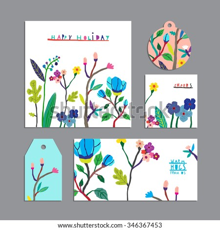Vector set of floral cards with flowers.Invitation, gift tag, label, banner. Beautiful freehand colorful illustrations.Design for poster, card, invitation, placard, brochure, flyer with place for text - stock vector
