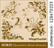 Vector set of floral design elements and page decoration - stock vector
