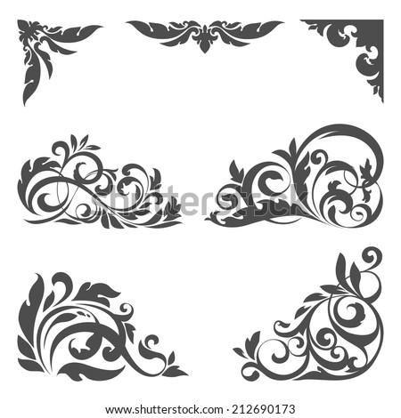 Vector set of floral elements for design - stock vector