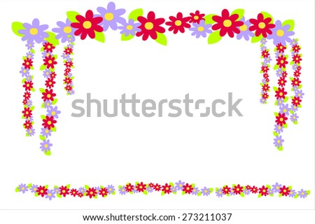 Vector set of floral elements. Seamless pattern for frames and borders. - stock vector