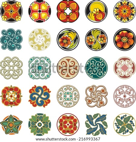 Vector set of floral ornamental circle designs in vintage style. - stock vector