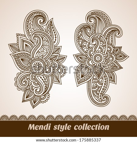 Vector set of floral pattern elements, indian ornament, henna style - stock vector
