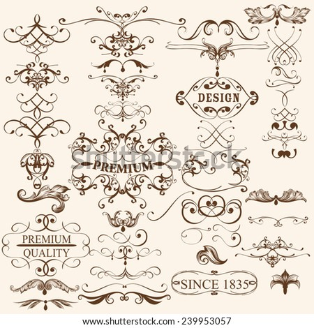 Vector set of flourishes for design. Calligraphic vector - stock vector