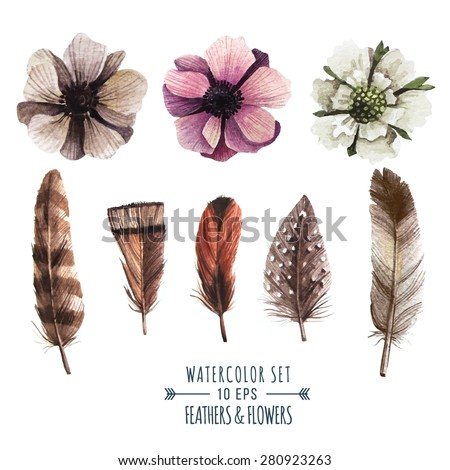 Vector set of flowers and feathers in watercolor style. Illustration in indie style. - stock vector