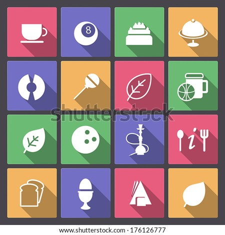 Vector set of food and entertainment icons in flat design - stock vector
