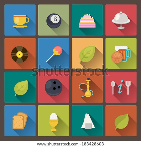Vector set of food and entertainment icons in flat design style - stock vector
