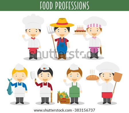 Vector Set of Food Industry Professions in cartoon style - stock vector