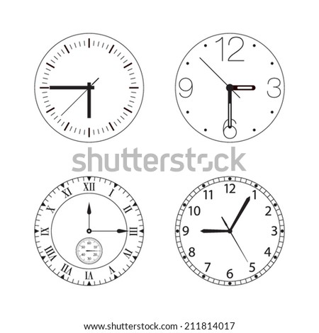 Vector set of four black and white watches / clocks isolated on white - stock vector