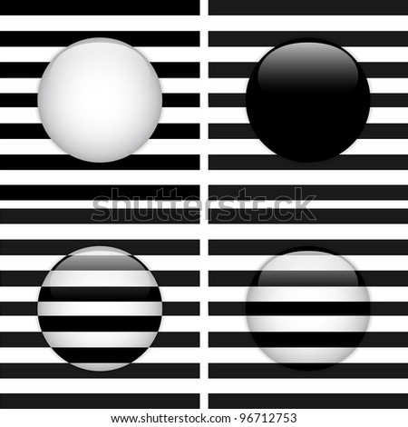 Vector - Set of Four Glass Circle Black and White Stripes - stock vector