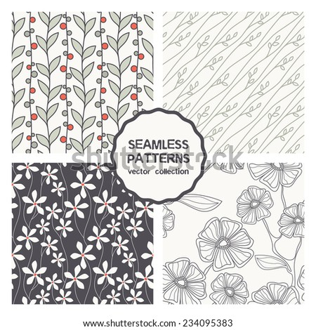 Vector set of four seamless patterns. Floral repeating backgrounds. Stylish collection of swatches which can be used for any purpose: wallpaper, tissue, packaging paper, prints for covers, etc. - stock vector