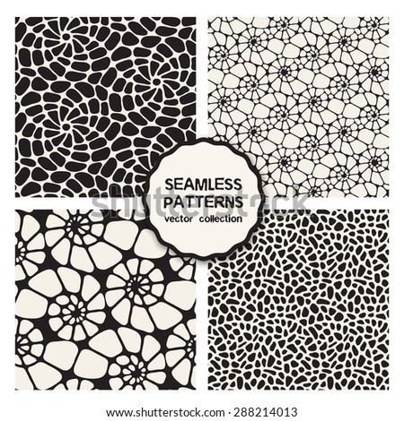 Vector set of four seamless patterns. Repeating backgrounds with scrolls, spots, shells. grid with spiral smooth elements. Stylish collection of swatches. Monochrome graphic design. - stock vector