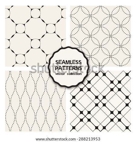 Vector set of four seamless patterns. Stylish collection of geometric patterns. Monochrome neutral minimalistic prints: dotted rings and waves, stylish simple grids. Modern graphic design. - stock vector