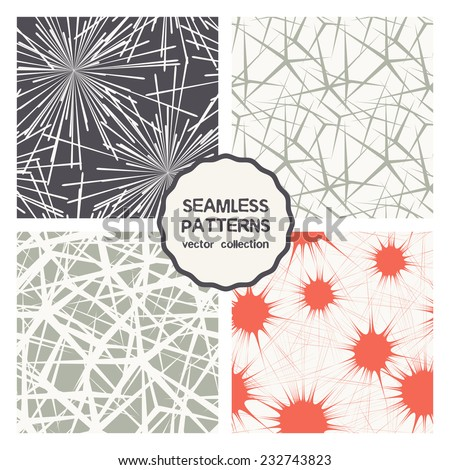 Vector set of four seamless patterns. Stylish collection with tileable swatches. Monochrome prints, backgrounds with stylized firework, bursts, smears, effect of cracks or irregular confused grid - stock vector