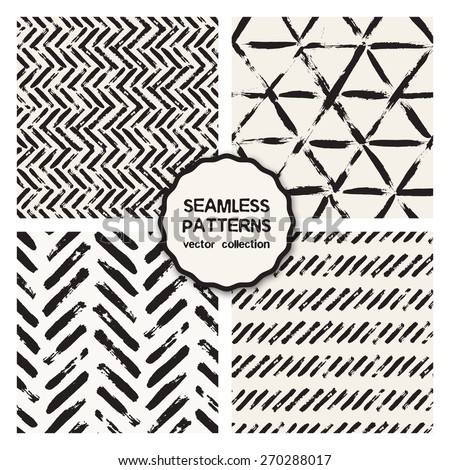 Vector set of four seamless patterns. Stylish collection with tileable swatches. Monochrome prints, backgrounds made with brush strokes: stripes, herringbone, zigzag, hipster triangles - stock vector
