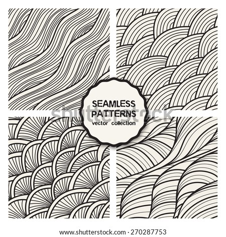 Vector set of four seamless patterns. Stylish tileable swatches. Monochrome hipster prints, backgrounds with linear doodles, scales, diagonal waves, hand drawn graphics made with graphics tablet - stock vector