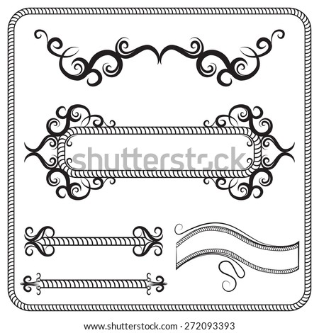 Vector set of frames, decorated with swirls. The illustration on white - stock vector