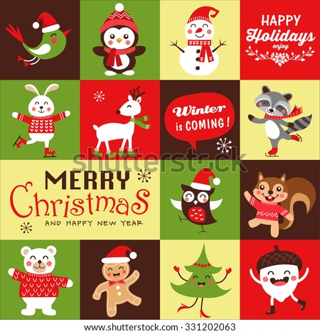 Vector set of funny cartoon Christmas character, symbols, greeting card, banner and poster. - stock vector