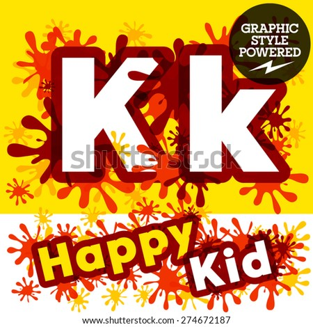 Vector set of funny children splash alphabet. Letter K - stock vector