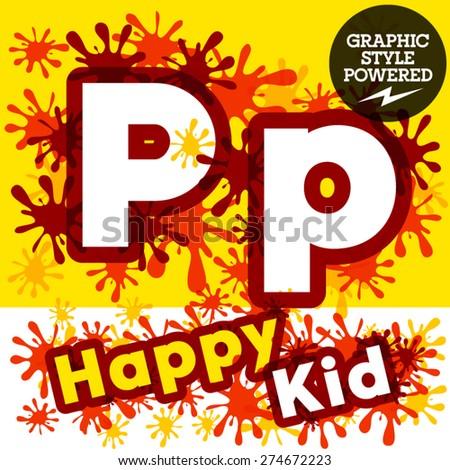 Vector set of funny children splash alphabet. Letter P - stock vector