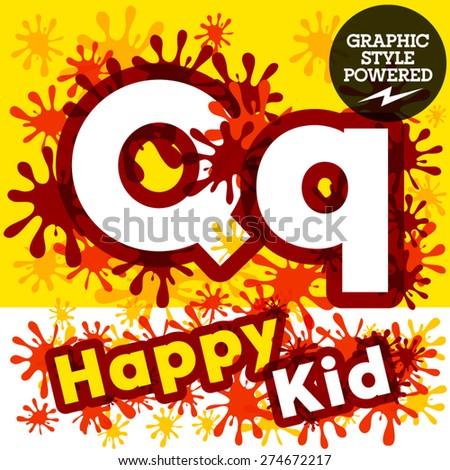 Vector set of funny children splash alphabet. Letter Q - stock vector
