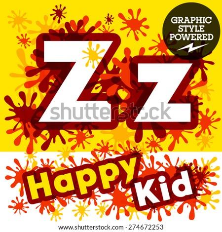 Vector set of funny children splash alphabet. Letter Z - stock vector