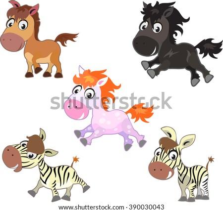 Vector set of funny cute cartoon horses. Mustang, pony, colt, zebra - stock vector