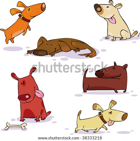 Vector set of funny dog - stock vector