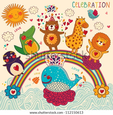 Vector set of funny, happy animals. Greeting card. Happy Birthday - stock vector