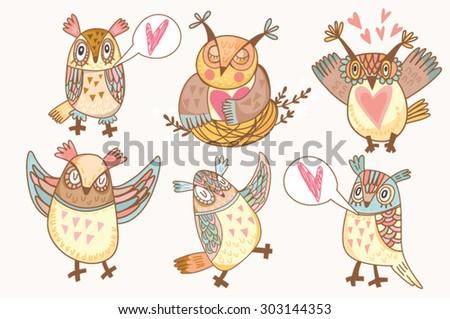 Vector set of funny owls in gentle colors. - stock vector