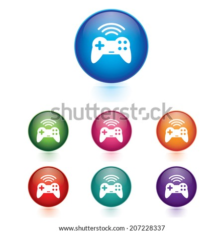 Vector - Set of game pad wireless icons  - stock vector