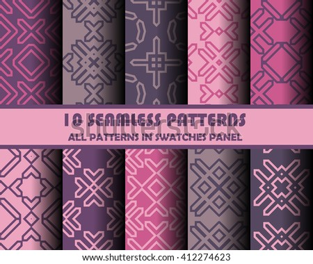 vector set of geometric seamless patterns for design. eps 10 - stock vector
