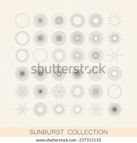 vector set of geometric sunburst and light ray shapes. design element collection - stock vector