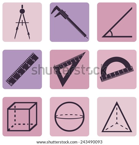 Vector Set of Geometry Icons. - stock vector